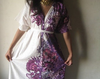 White Purple Floral Full front buttoned kaftan