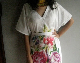 Rose - White Kaftan Dress - Can be worn with jeans, leggings or as a dress