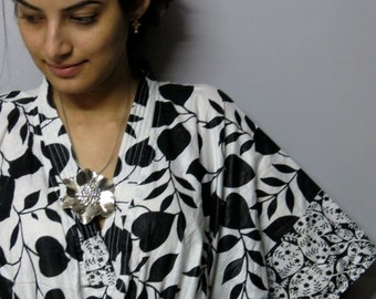 White and Black Leafy Short Kaftan - Perfect gift for her