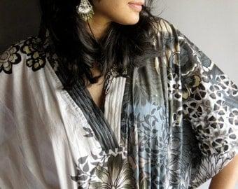 White Gray kaftan - Perfect long dress, beachwear, spa robe, make great Christmas, Valentine Day, Anniversary or Birthday gifts