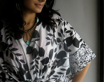 White Black Leafy Top - Perfect for outings to be worn over jeans or leggings, lounges, beaches, spa robes, to be mums, best gift for her