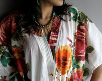 White Floral Kaftan Dress - Perfect for outings, lounges, Vintage look Kaftan, beaches, spa robes, to be mums, gift for her