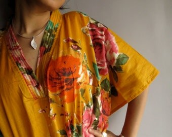 Yellow floral Kaftan Robe - Perfect as a long dress, loungewear, beachwear, spas, for to be moms and more