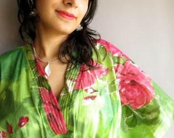 Green Fuchsia Flowers kaftan Robe - Perfect long dress, beachwear, spa robe, make great Christmas, Anniversary or Birthday gifts