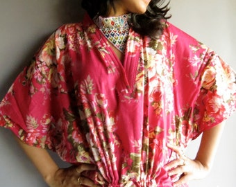 Magenta Floral kaftan - Perfect long dress, beachwear, spa robe, make great Christmas, Valentine Day, Anniversary or Birthday gifts