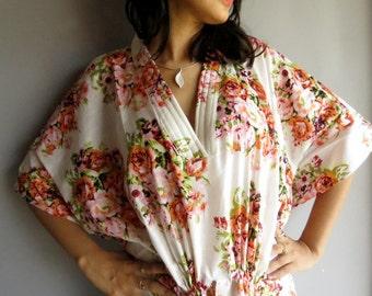 White floral kaftan - Perfect long dress, beachwear, spa robe, make great Christmas, Valentine Day, Anniversary or Birthday gifts