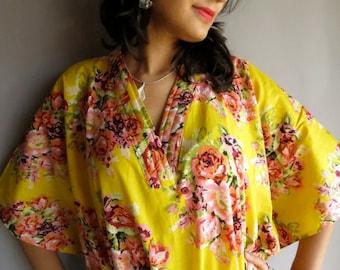 Yellow floral kaftan - Perfect long dress, beachwear, spa robe, make great Christmas, Valentine Day, Anniversary or Birthday gifts