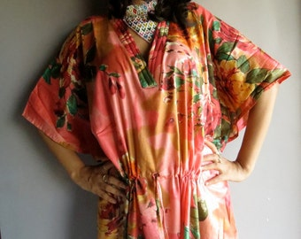 Peach Pink Floral Caftan - Perfect long dress, beachwear, spa robe, make great Christmas, Valentine Day, Anniversary or Birthday gifts