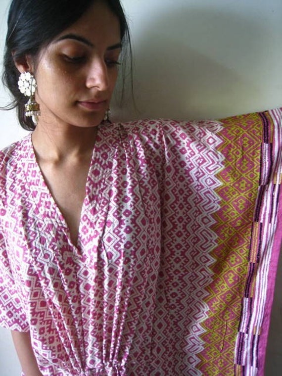 Pink with a lovely border Kaftan Robe - Perfect as a long dress, loungewear, beachwear, spas, for to be moms and more