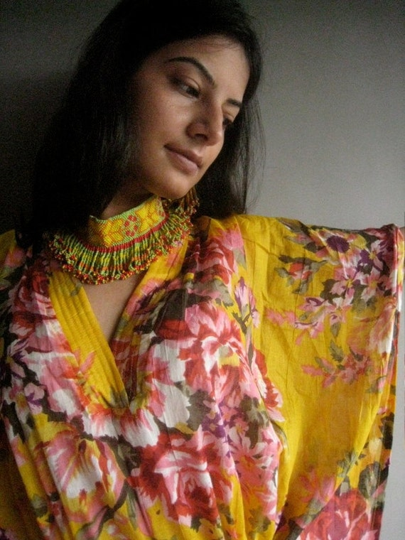 Yellow Floral Kaftan Robe - Perfect as a long dress, loungewear, beachwear, spas, for to be mums, actually best gift for her
