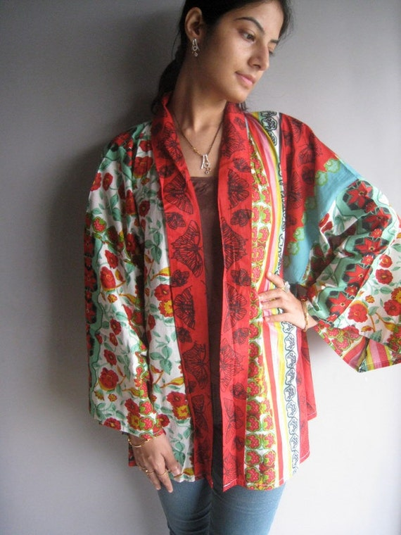 Red Green Haori - Japanese Kimono Full Sleeves Jacket - Perfect for outings to be worn over jeans or leggings, best gift for her