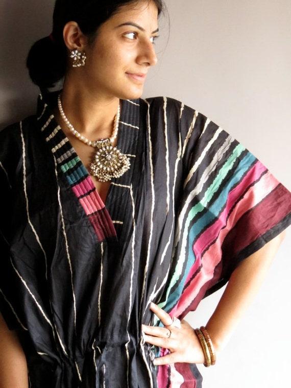 Shygames - Black kaftan - Perfect long dress, beachwear, spa robe, make great Christmas, Valentine Day, Anniversary or Birthday gifts