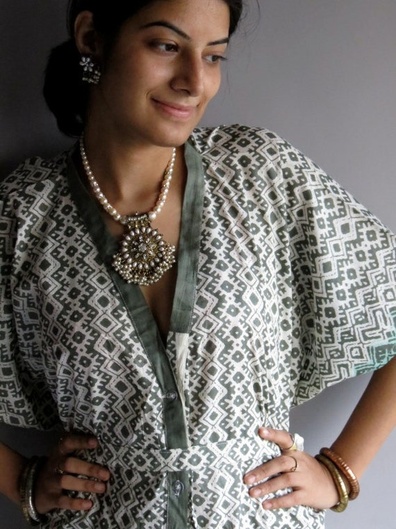 Military Green Geometrica front button caftan perfect as getting ready, beach coverup, dressing gown, loungwear, gift for her