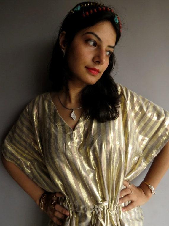 Gold Shimmer kaftan Robe - Perfect short dress, spa robe, make great Christmas, Valentine Day, Anniversary or Birthday gifts