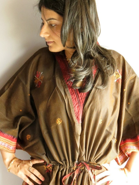 Dark Brown with a lovely border kaftan - Perfect long dress, beach wear, spa robe, make great Anniversary or Birthday gifts