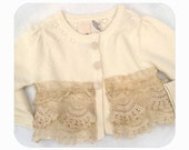 Antique Cream Ruffle Sweater from the Hattie Dear Line for Girls Size 12-18 Months
