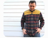 Mens Colorblocked Plaid Shirt with Mustard Chenille Shoulder Patches Size Medium/Large from the Paul McCall Line for Men
