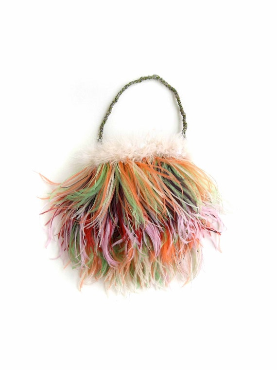 RESERVED for BEVERLY Ostrich Feather Rainbow Purse for Women and Girls