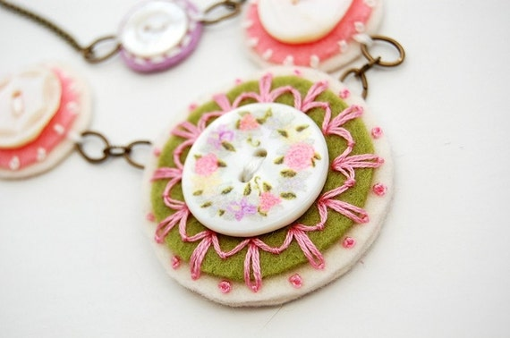 Vintage Button Embroidered  Necklace