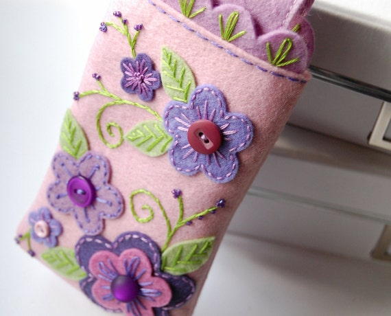 RESERVED iPhone iPod Droid Cozy- Pink and Purple Garden