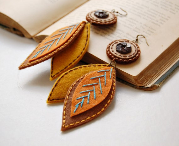 Falling Leaves Embroidered Wool Earrings