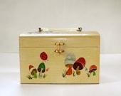 Vintage Hand Painted Wood Box Purse Woodland Mushrooms 1970s.