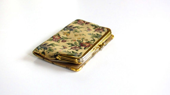 Vintage Clutch Clasp Wallet with Crewel Style Fabric
