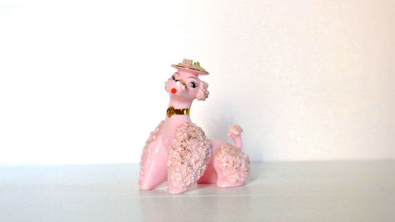 Vintage French Pink Poodle Figurine