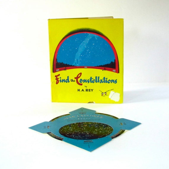 """Vintage Children's """"Find the Constellations"""" Book by H. A. Rey with Star Wheel"""