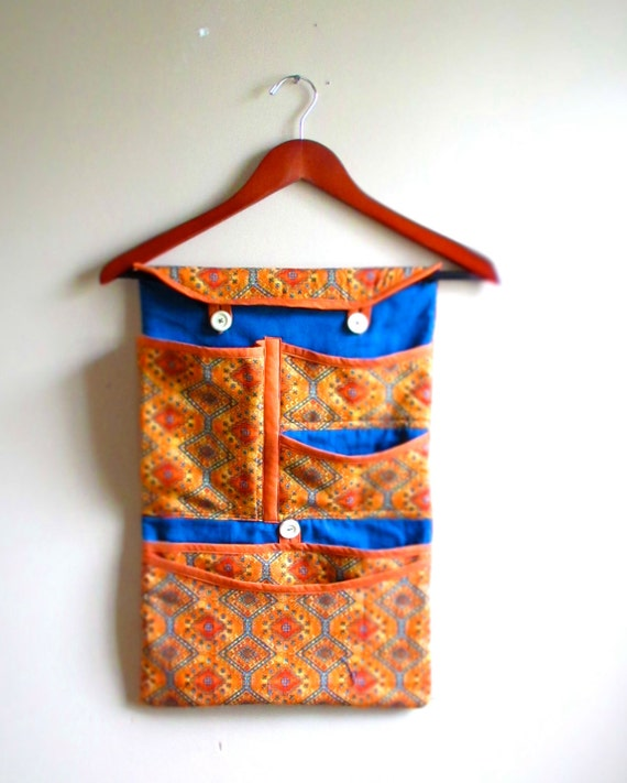 Fabric Pocket Organizer for Wall, Closet or Car Auto Headrest.  Great Grad Graduation Gift for College Dorm or Travel.