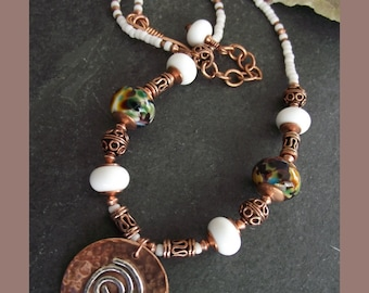 Copper and Silver Pendant Necklace with Handmade Lampwork Beads