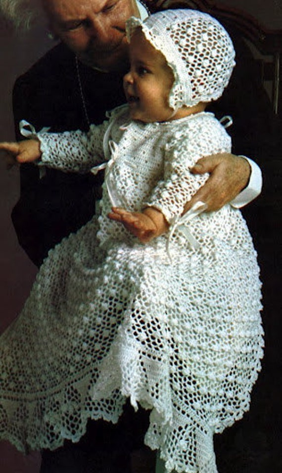 Items Similar To 70 S Vintage Crochet Christening Dress