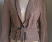 Vintage 1980s Short CROPPED Suede Leather Jacket XS S Coat