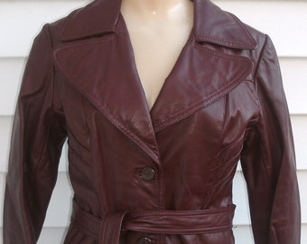 Vintage 1970s Leather Spy Girl TRENCH Coat XS S 2 4 6 w/ Quilted Lining