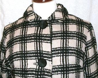 Vintage 1950s Black White Tweed Swing Coat S M