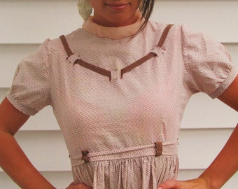 Vintage 1950s Pink Cotton Tie Back Mini Dress XS 0 2 Rhinestones and Woven Trim