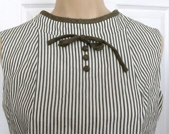 Vintage 1950s Seersucker Secretary Dress Suit XS 0 2 Top Skirt