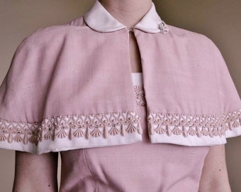 Vintage 1940s Pink w Capelet Wiggle Party Dress XS S 2 4