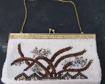 Vintage Multi Color Beaded Evening Bag Purse