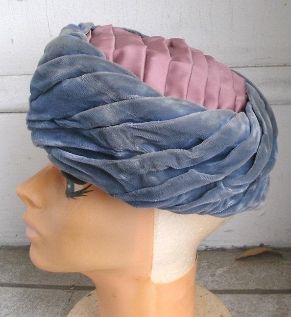 Vintage 1950s Blue Velvet n Lavender Satin Hat 22 1/2 Modified Pillbox