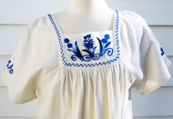 Vintage Cotton Embroidered Maxi Dress Caftan S M L Ecru Cotton