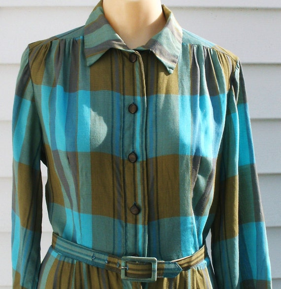 Vintage 1950s Cotton Secretary Day Dress XS 0 2 Office Madmen