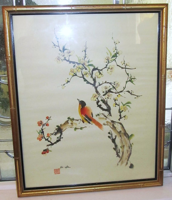 Vintage HO - CHU Print Asian Art  Signed Stamped Flowers Bird Professionally Framed