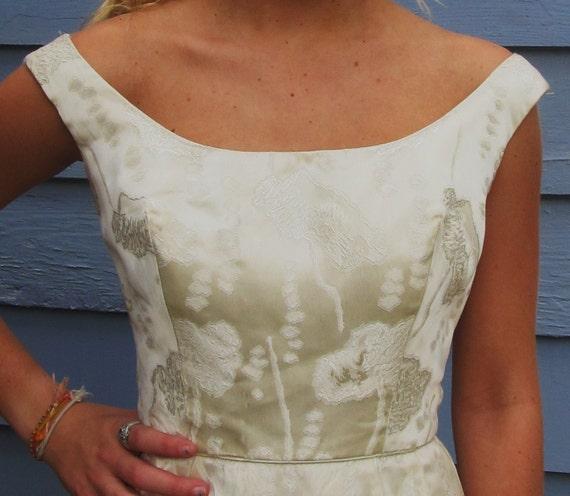 Vintage 1950s Brocade Wiggle Formal Dress XS 0 Wedding Cocktail Off Shoulder