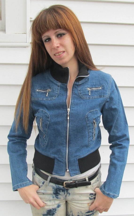 OTH Vintage CROPPED Stretch Jacket XS S Metal Zippers
