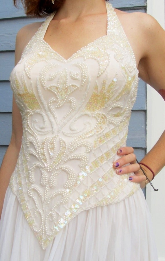 Vintage SILK Beaded Halter Long Wedding Dress XS 0 2 Formal Gown