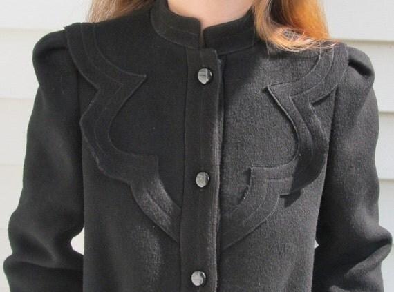 Vintage NIPON COUTURE Wool SWING Coat S M 4 6
