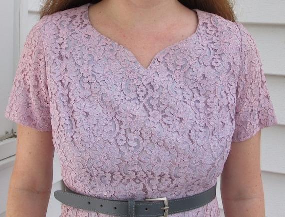 Vintage 1940s 1950s Lavender WIGGLE Lace Dress S 4 6