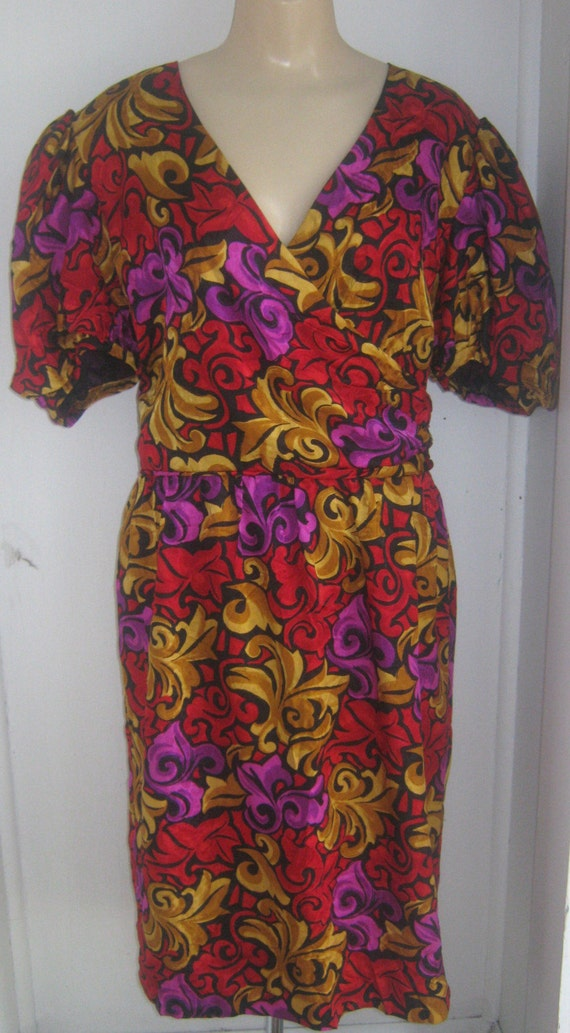 Vintage Papell Structured SILK Dress M 8