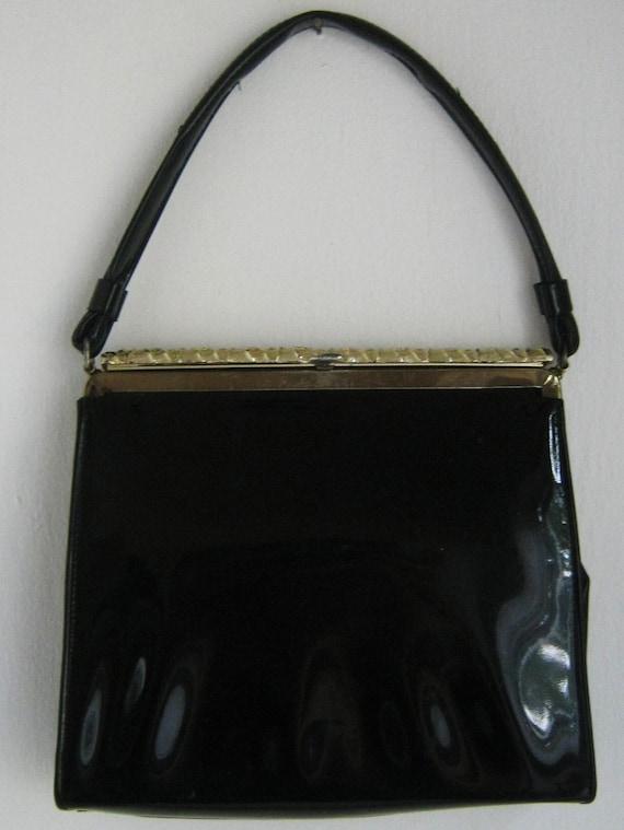 Vintage 1950s Black Patent Leather w Gold Purse Bag Evening Bag After Five Cockail